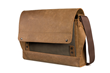 Rough Rider Leather Laptop Messenger— full-grain leather accent panel in gray