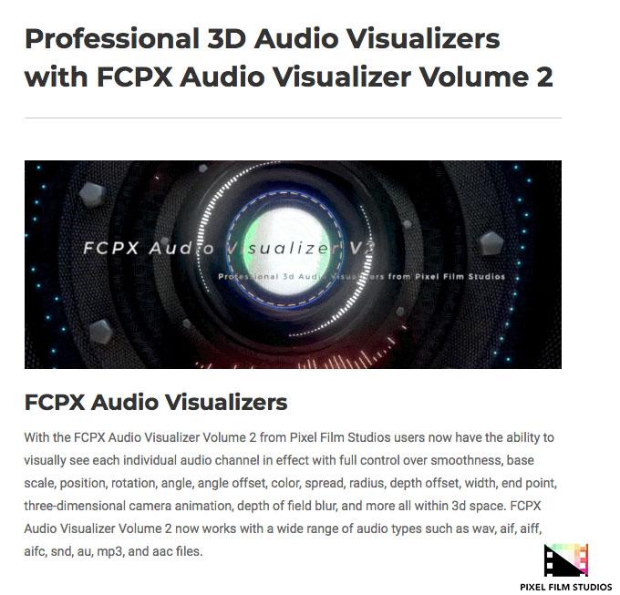 Pixel Film Studios Unveils FCPX Audio Visualizer 2 for Final