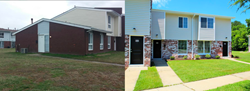 Before and after images of brand new building exteriors