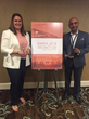 Kelly Champagne of F-Secure and Sandeep Shashikant of Frontier accept the BMMA Best in Class Partnership Marketing Award at the 2018 BMMA Annual Meeting in Atlantic Beach, FL.
