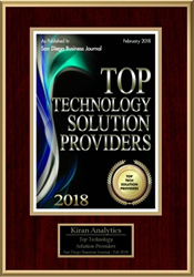 Kiran Analytics ranked among the top ten San Diego technology solution providers list