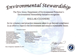 Environmental award given out by the state of New Jersey to Hallak Cleaners' Hackensack plant.