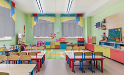 Latitude linear direct/indirect fixtures in a colorful elementary school classroom