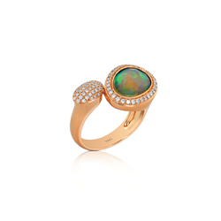 Toi & Moi opal and diamond pave ring Yael Designs