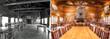 The historic dining hall at Brooks Lake Lodge, seen then and now, boasts a grand fireplace and high beamed ceilings, and hosts guests for gourmet meals included with an overnight stay.