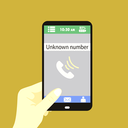an illustration of a hand holding a phone with an incoming call from an unknown number