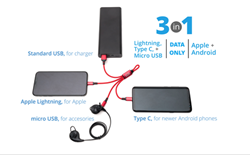 3-in-1 USB Micro Charging Cable