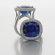Burmese Sapphire Ring by Jeffrey Bilgore.  Unheated, 16 ct. cushion-cut Burmese sapphire ring, with diamonds, set in platinum.
