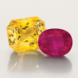 30ct. Radiant Yellow Sapphire and 13 ct. Mozambique Ruby by Jeffrey Bilgore.