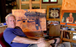 """Teton Reflections"" was painted by the 2018 Jackson Hole Fall Arts Festival featured artist Dennis Ziemienski, pictured here in his California studio."