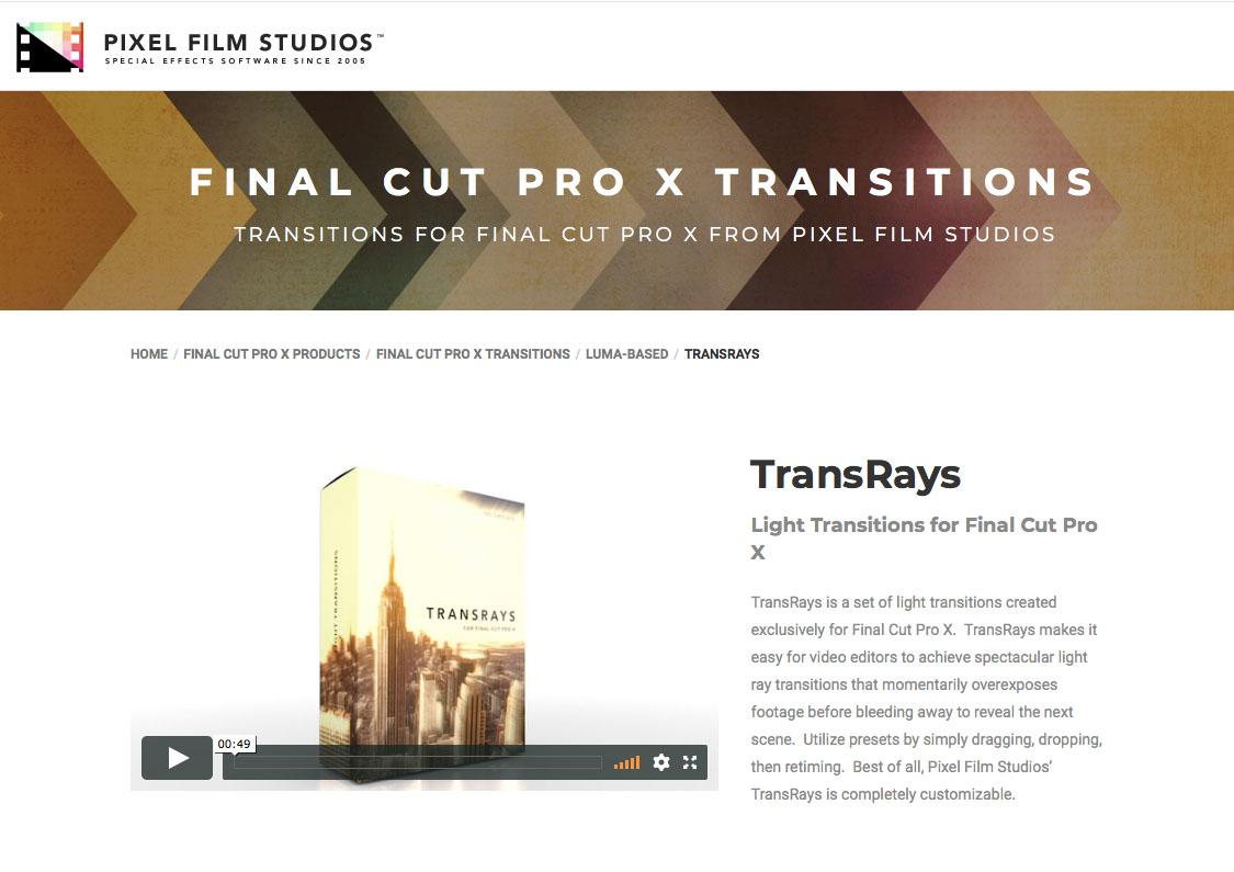 Pixel Film Studios Announces TransRays for Final Cut Pro X
