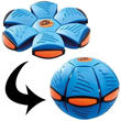 Throw a disc, catch a ball! Phlat Ball is a unique sports toy that transforms from a flying disc to a ball when thrown.