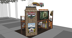 Rendering of Old Trapper Beef Jerky two-story exhibition booth for Sweets and Snacks Expo