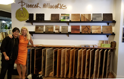 Interior Designer, Christian, and Principal/CEO of Hospitality!, Annika, with the new Pioneer Millworks Display in downtown Los Angeles.