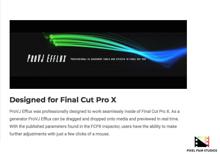 Pixel Film Studios Unveils ProVJ Efflux for Final Cut Pro X
