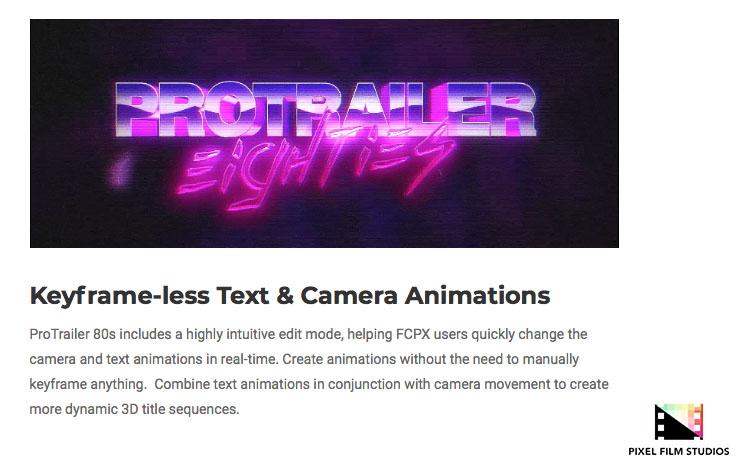 Pixel Film Studios Unveils ProTrailer 80's for Final Cut Pro