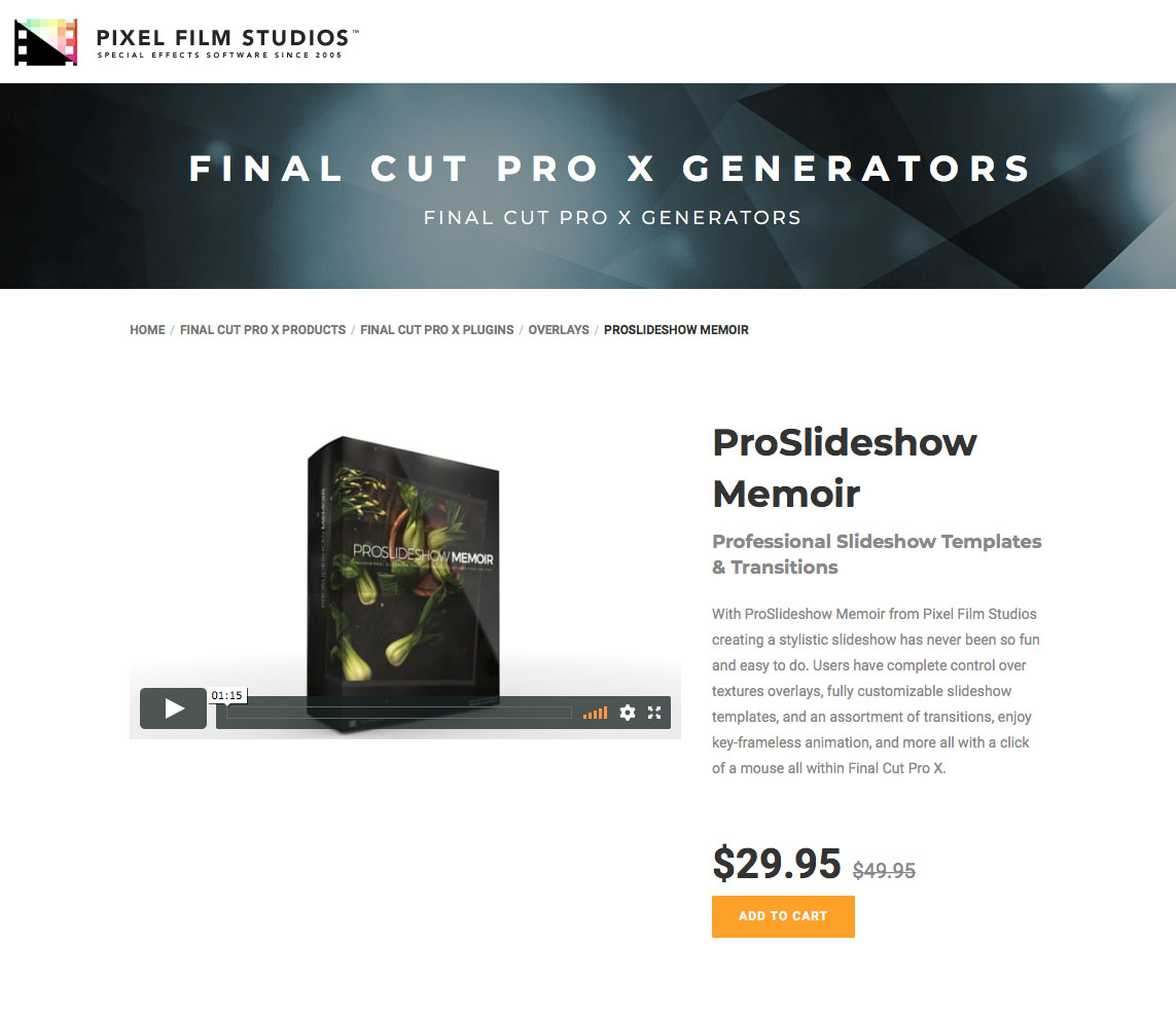 Pixel Film Studios Releases Proslideshow Memoir For Final Cut Pro X
