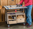 Rockler Adds Free Storage Cabinet Plan to Expand Material Mate Options - Cabinet Converts Material Mate into a Rolling Workstation