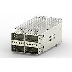 Heilind now stocking TE's zQSFP+ stacked belly-to-belly cages