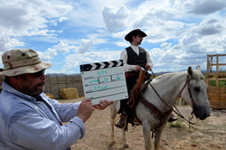 Actor Tony Toste on Horse filming the movie Brothers James: Retribution film Coming Soon