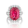Red Spinel Ring by Jeffrey Bilgore. 10.19 cts. with 70 diamonds, set in platinum. Ring is in the National Gem Collection