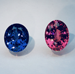 Spinels sourced by Jeffrey Bilgore in the National Gem Collection Left: 14.02 ct. Oval Blue Spinel from Sri Lanka. Right: 16.79 ct. Oval Pink Spinel from Tajikistan