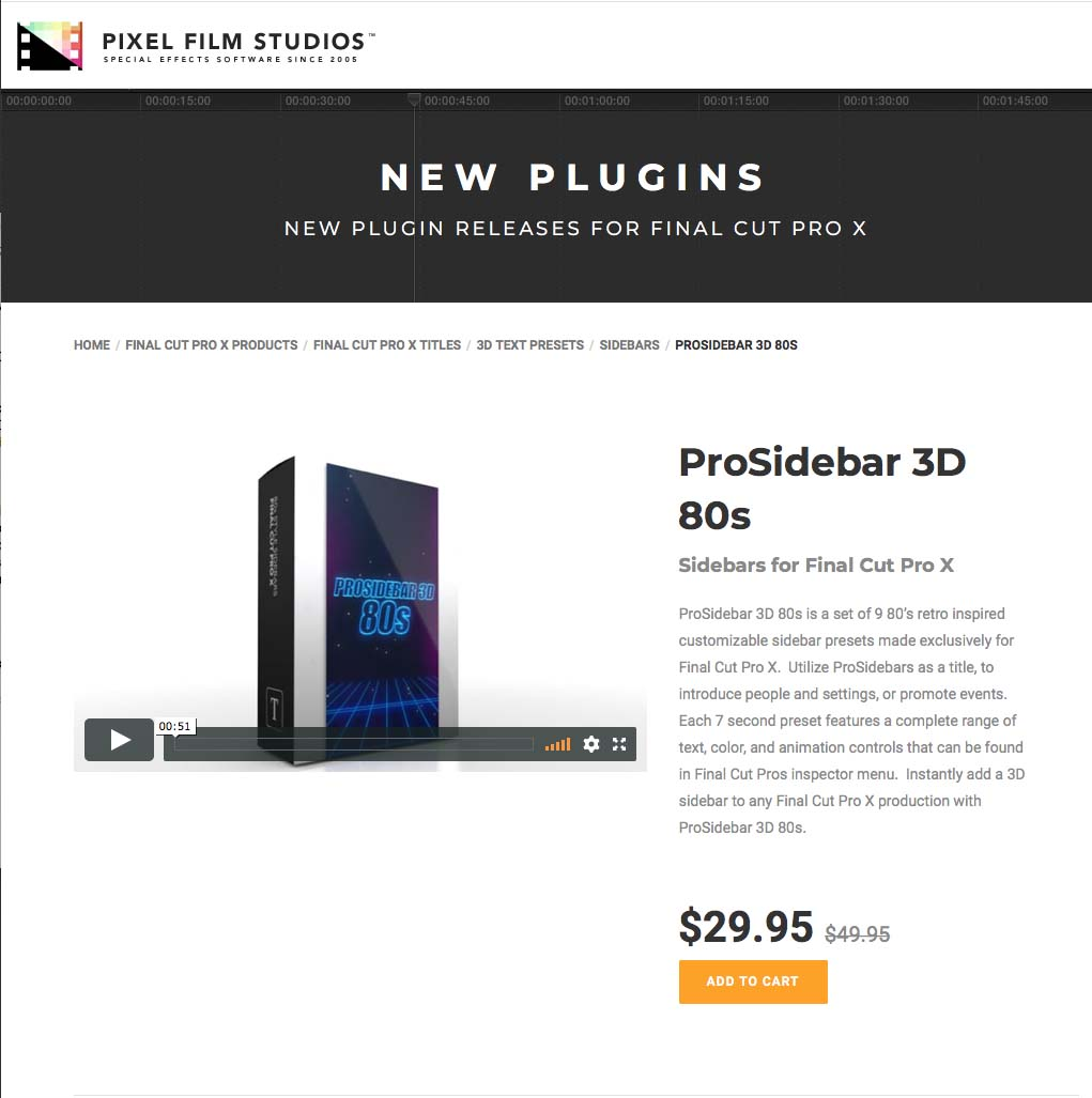 Pixel Film Studios Unveils ProSidebar 3D 80's for Final Cut