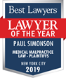 Paul Simonson Recognized as New York City's Medical Malpractice 2019 Lawyer of the Year