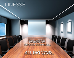Linesse linear disinfecting slot fixtures in a modern conference room.