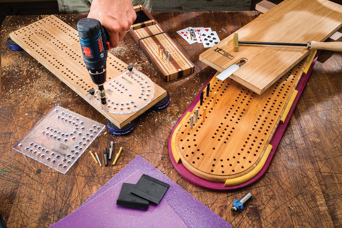 Rockler Introduces Six New Cribbage Board Template Sets Two And Three Player Options Available In Sizes