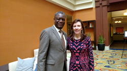 Dr. Denis Mukwege, founder of Panzi Hospital and 2018 Nobel Peace Prize winner, with Fistula Foundation CEO Kate Grant at a 2015 meeting in San Francisco, CA.