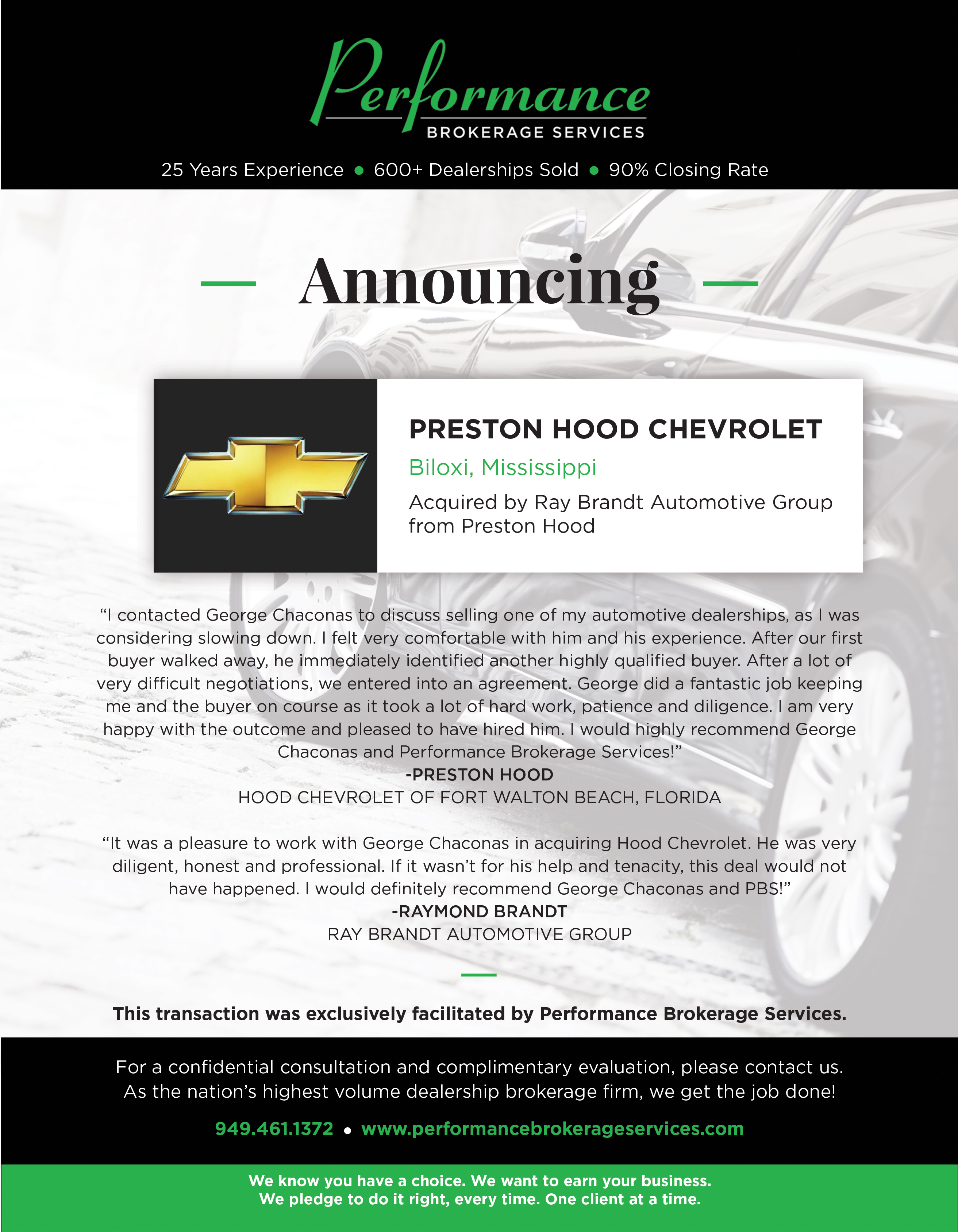 preston hood chevrolet of biloxi mississippi sells with help of auto dealership broker performance brokerage services www prweb com