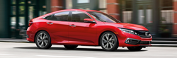right side view of red honda civic sedan