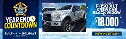 Blue and White Snowy Background with a Picture of a Silver Ford F-150 Black Widow Truck, the Marshal Mize Ford Sherrif Badge Logo and Yellow/White Year End Countdown Text and Details