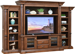 Amish Paris Entertainment Center with Side Bookcases