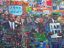 """Civil Rights mural at Martin Luther King Memorial Park in Atlanta,"" depicts Martin Luther King Jr. marching along with many others who are holding signs. The signs read, ""Jobs for all now!"", ""We won't be slaves no more!"", and ""I am a man."" This photograph was taken on May 18 2013 by denisbin and can be found on Flickr. It is used under CC BY-ND 2.0 (https://creativecommons.org/licenses/by-nd/2.0/)"