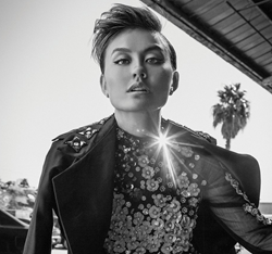 Black and white image of Agnez Mo from inside CIVILIAN magazine