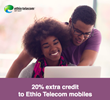 20% Bonus on All Top Ups from Abroad Sent to Ethio Telecom Numbers in Ethiopia with MobileRecharge.com