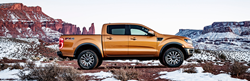 2019 Ford Ranger in Front of Snowy Mountain Landscape