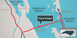 New mid-currituck bridge connecting Currituck County mainland to Outer Banks