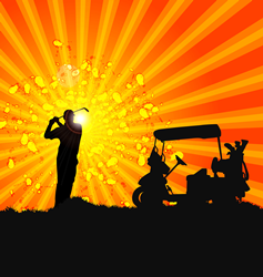 colorful shadowed image of a golfer and golf cart
