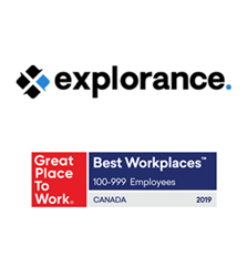Explorance in the Top 10 of Great Place to Work's Best Workplaces™ 2019 list with innovative corporate culture.