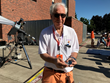 Professor Jay Pasachoff holding The Stonehenge Watch™ at the Great American Solar Eclipse in Salem, Oregon