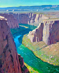 "This vibrant oil painting is part of a solo show, ""A New Perspective"", by Robert Goldman, debuting May 18 at the Maynard Dixon Living History Museum in Mt. Carmel UT"
