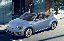 2019 Volkswagen Beetle Convertible parked downtown
