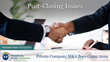 "Financial Poise™ Announces ""Post-Closing Issues,"" a New Webinar Premiering November 12th at 1:00 PM CST through West LegalEdcenter™"