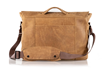 Executive Leather Messenger — rear panel slides over wheeled-suitcase handles