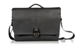 Executive Leather Messenger — black full-grain leather