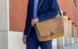 Executive Leather Messenger — grizzly full-grain leather