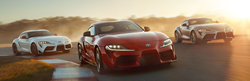 Three 2020 Toyota GR Supra models driving on a road